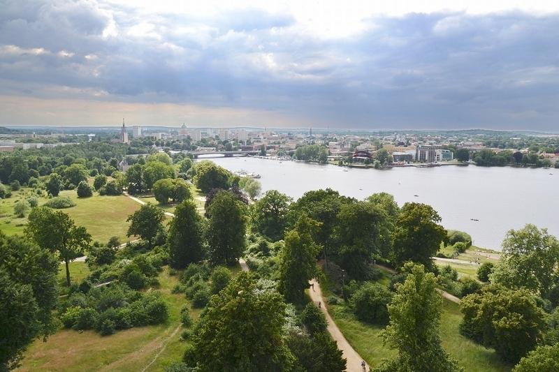Park Babelsberg, Blick vom Flatowturm nach Potsdam