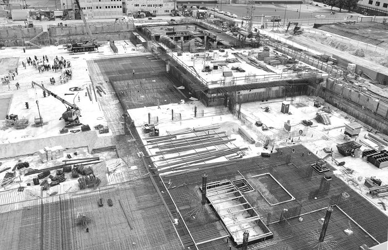 Baustelle Berliner Stadtschloss - Humboldtforum, Blick von der Humboldt-Box