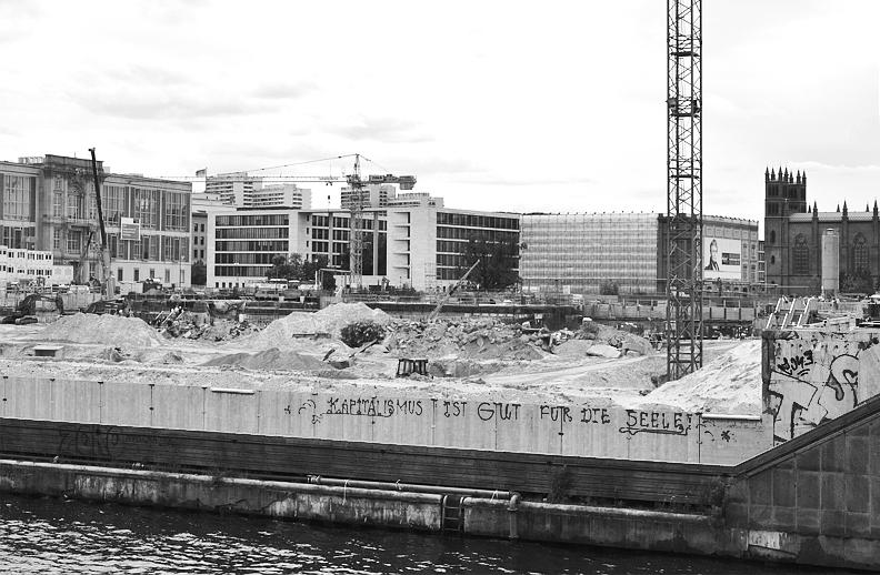 Baustelle Berliner Stadtschloss - Humboldt-Forum, Blick über die Spree
