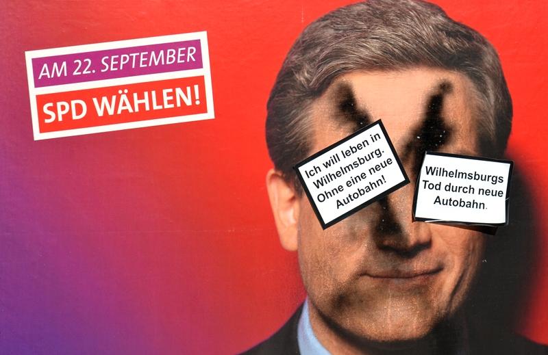 Protest gegen die IBA Hamburg Wilhelmsburg, Wahlplakat, Autobahn