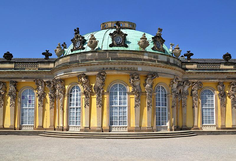 Schloss Sanssouci, Schriftzug, Südseite