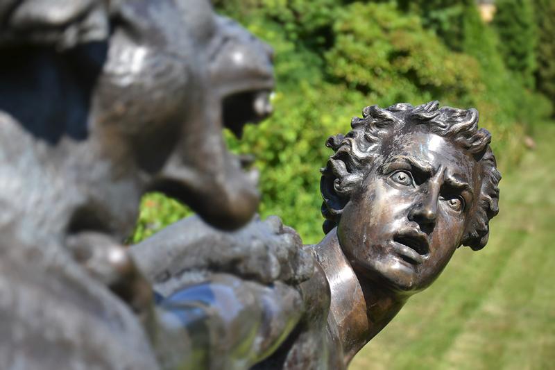 Schäfer im Kampf mit einem Panther von Ernst Moritz Geyger (Nachguss) im Sizilianischen Garten