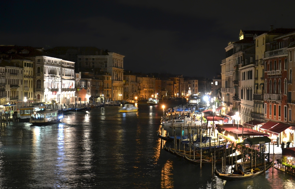 Venice at Night, View from Ponte di Rialto to Canal Grande