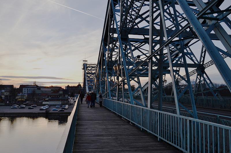 Dresden, Loschwitzer Brücke, Blaues Wunder, Sonnenuntergang