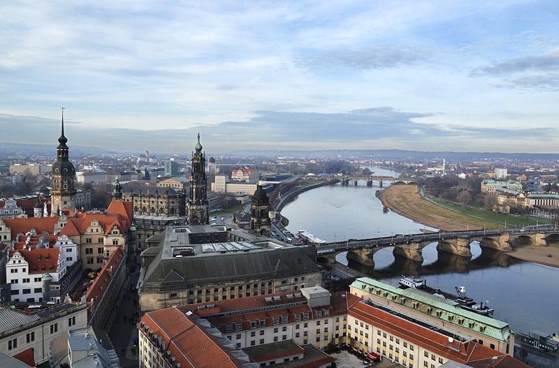 Dresden, Elbe, Blick von der Frauenkirche nach Westen