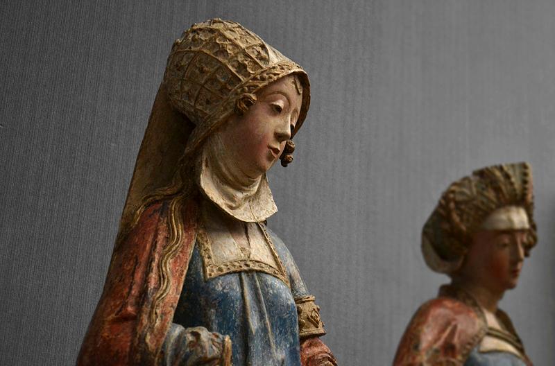 Gemäldegalerie, Bode-Museum, Skulpturen; Zwei Frauen aus einer Grablegung Christi,