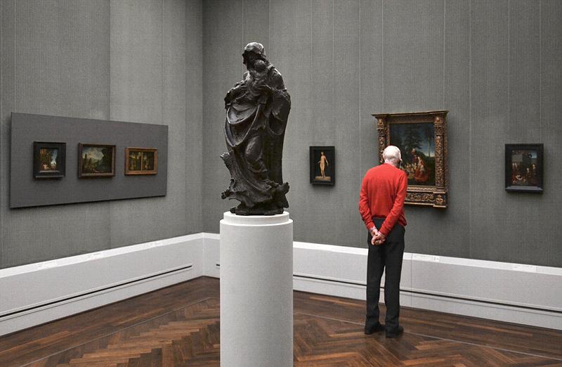 Gemäldegalerie, Bode-Museum, Skulpturen; Hans Leinberger, Muttergottes; Gemälde von Lucas Cranach d. Ä.