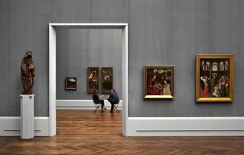 Maria aus einer Kreuzigung Christi; Meister des Antwerpener Marien-Triptychons, Maria mit dem Kind, dem Erzengel Michael und einem Stifter; Albert von Ouwater, Die Auferweckung des Lazarus