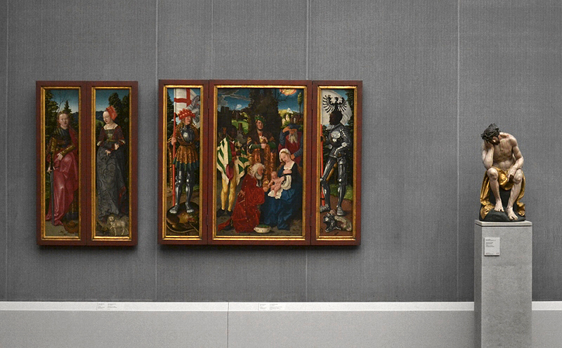 Gemäldegalerie, Bode-Museum, Skulptur; Hans Baldung, gen. Grien, Dreikönigsaltar; Hans Leinberger, Christus im Elend