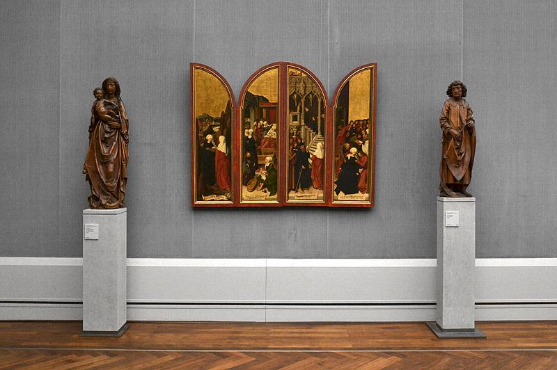 Gemäldegalerie, Bode-Museum, Skulpturen; Tilman Riemenschneider, Muttergottes und Apostel Matthias; Bernhard Strigel, Flügel des Schussenrieder Marienaltars