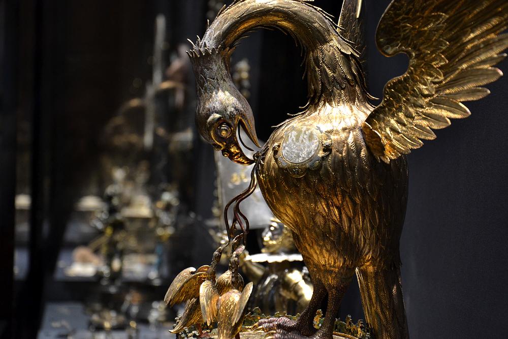 Kunstkammer Wien, Tafelaufsatz in Gestalt eines Pelikans von Hans Steidlin
