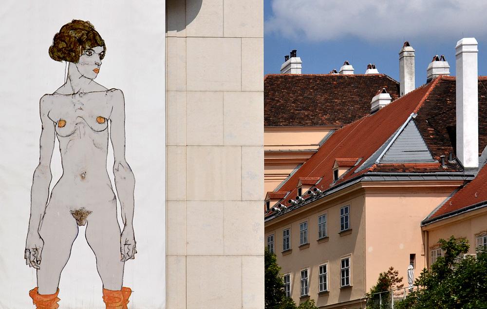 Leopold Museum Wien, Plakat (Egon Schiele, Stehendes nacktes Mädchen mit orangen Strümpfen)