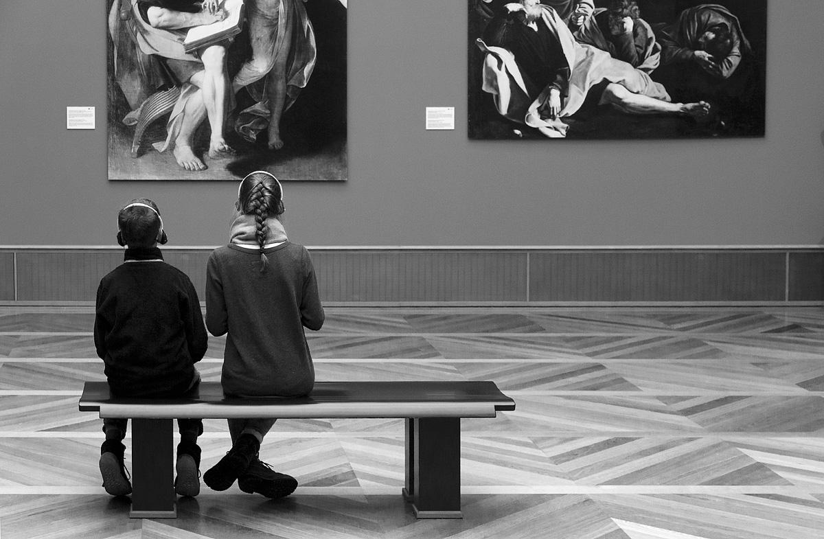 Bode-Museum, Ausstellung Das verschwundene Museum, Caravaggio , Hl. Matthäus; Ölberg (Reproduktionen der 1945 verbrannten Gemälde)