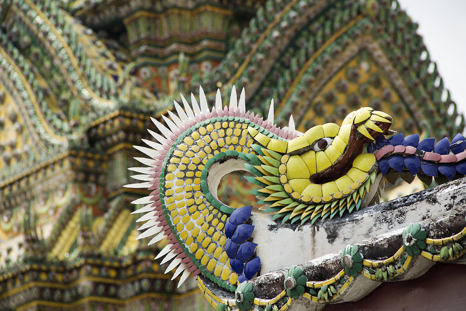 Bangkok, Wat Pho, Drachen, Dach
