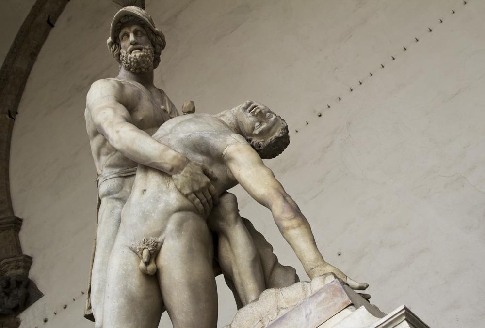 Fabian Fröhlich, Florenz, Loggia dei Lanzi, Menelaus stützt den Körper des Patroclus