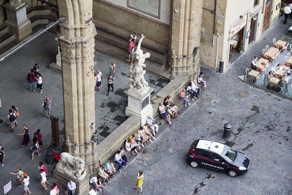 Blick vom Palazzo Vecchio zur Loggia dei Lanzi