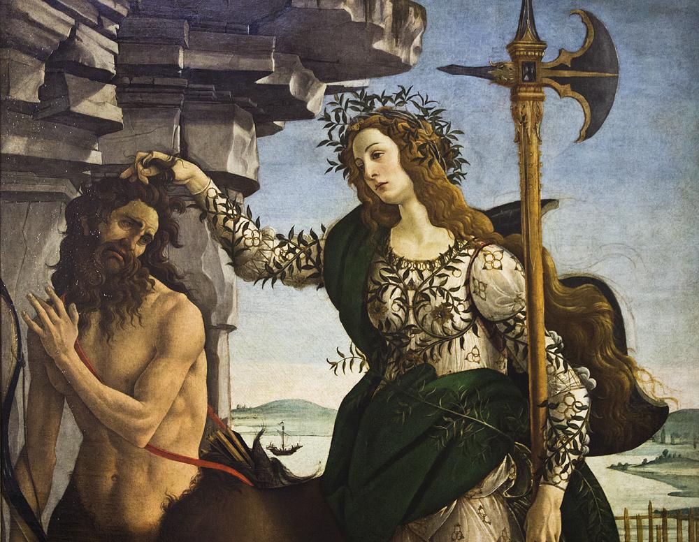 Bildergebnis für botticelli pallas athene bändigt den kentauren