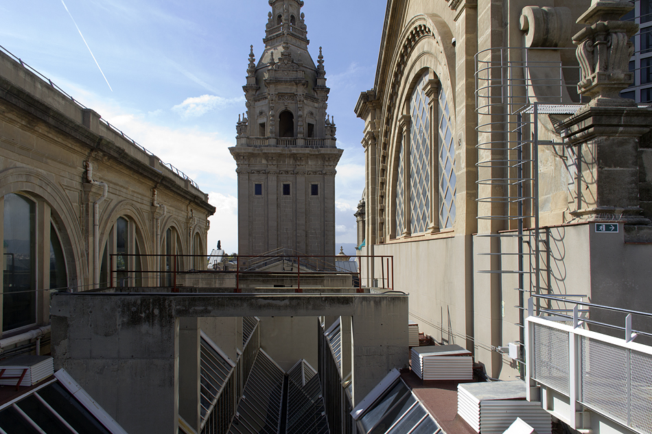 Barcelona,  Montjuïc, Dach des Palau Nacional