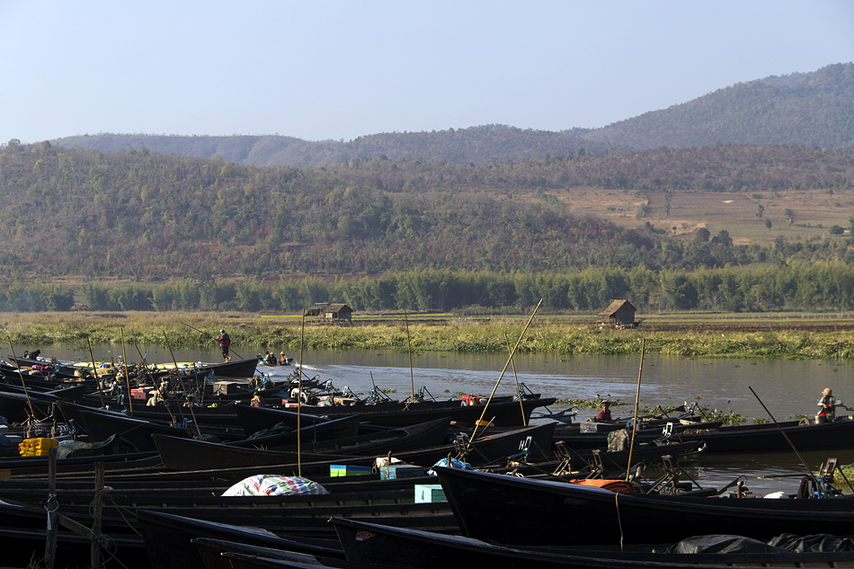 Myanmar, Inle-See, Boote, Markt in Kyauk Taung