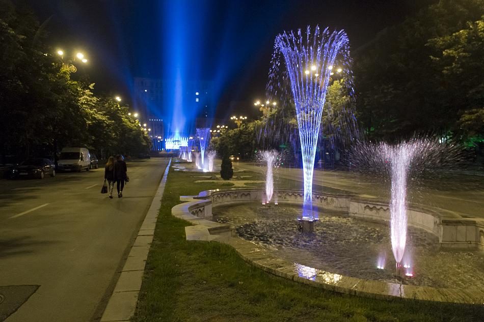 Bukarest, Bulevardul Unirii at night