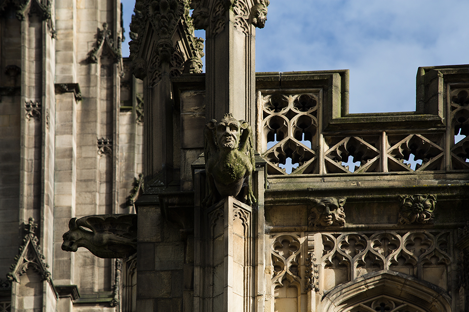 Manchester, Gargoyles at Manchester Cathedral