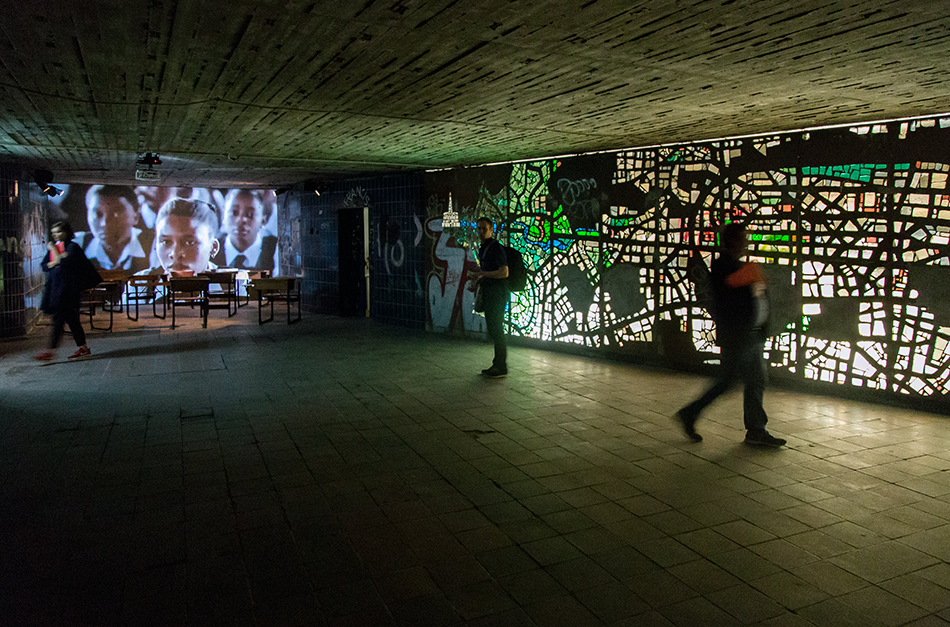 Fabian Fröhlich, documenta 14, Kassel,  iQhiya, Monday by iQhiya and glass mosaic by Dieter von Andrian from the 60s / Glass mosaic by Dieter von Andrian from the 60s (Former Underground Train Station)