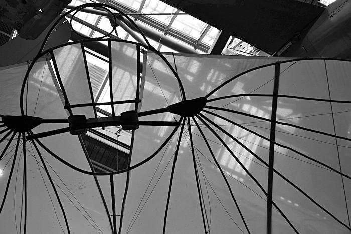 Berlin, Deutsches Technikmuseum, Dach des Neubaus, Luftfahrt