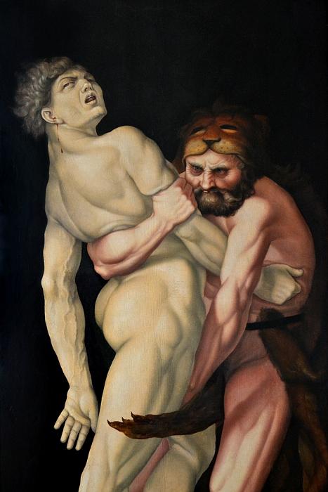 Kassel, Gemäldegalerie Alte Meister, Schloss Wilhelmshöhe, Hand Baldung gen. Grien, Herkules und Antäus