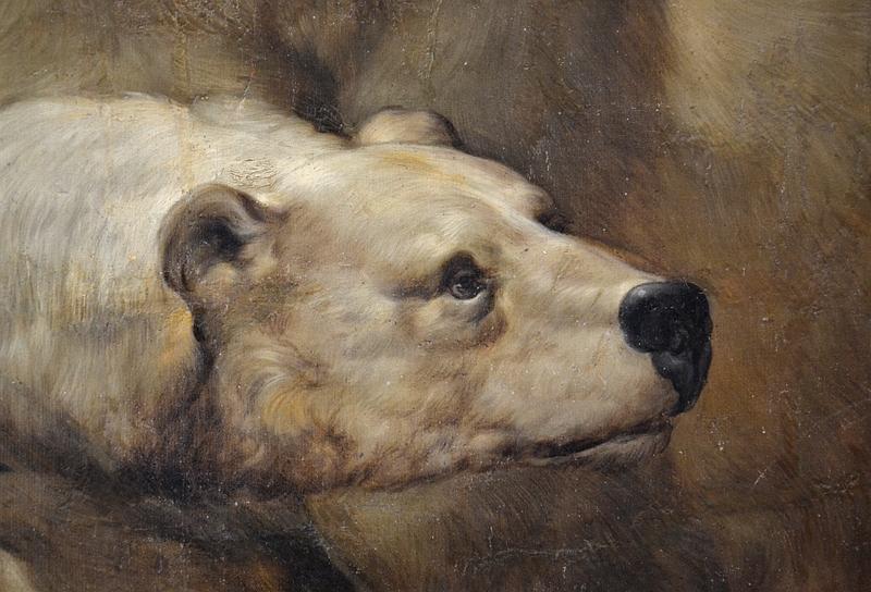 Kassel, Gemäldegalerie Alte Meister, Schloss Wilhelmshöhe, Johann Melchior Roos, Die Menagerie des Landgrafen Karl, Großes Tierbild, Eisbär