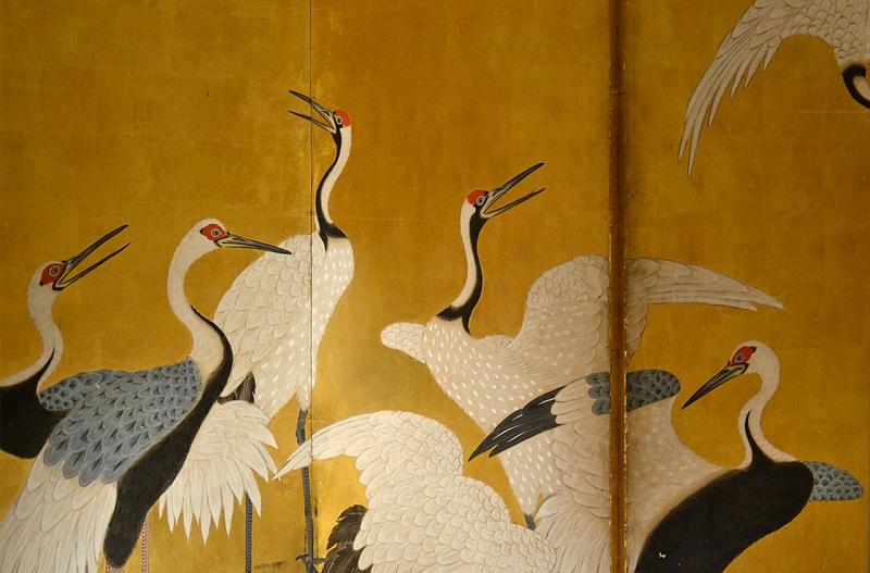 Museum für Asiatische Kunst, Dahlem, Sangetsudo, Stellschirm mit Kranichen