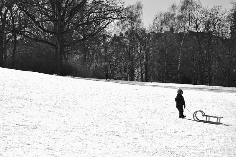 Berlin Kreuzberg, Viktoriapark, Winter, Schlitten
