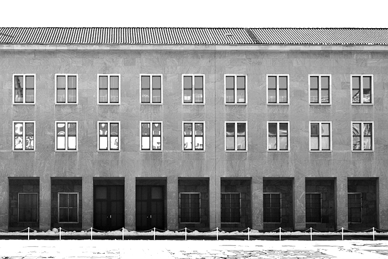 Flughafen Tempelhofm, Fassade Seitenflügel, Innenhof