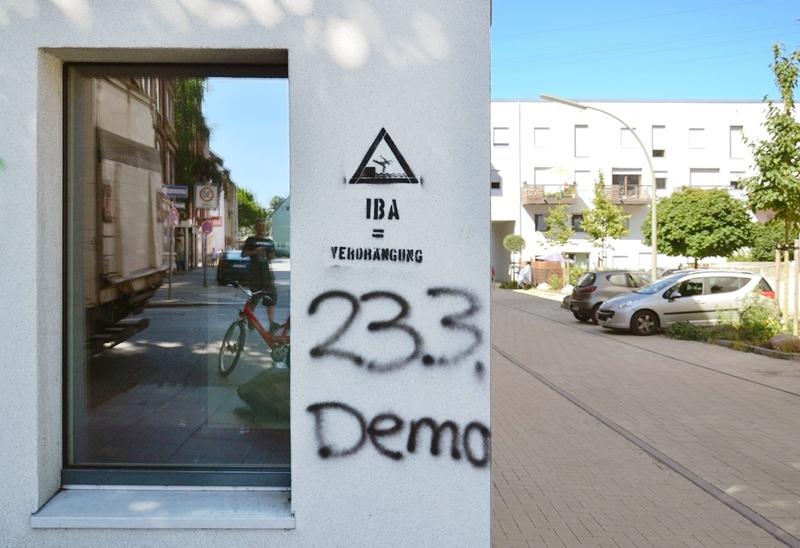 Protest gegen die IBA Hamburg Wilhelmsburg, Graffiti, IBA versenken