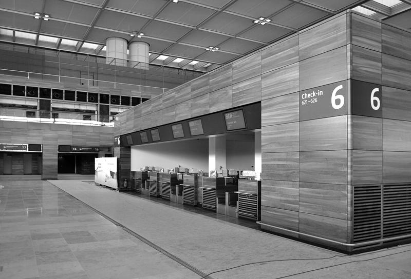 Check-In Schalter, Abflughalle, BER, Flughafen Berlin Brandenburg