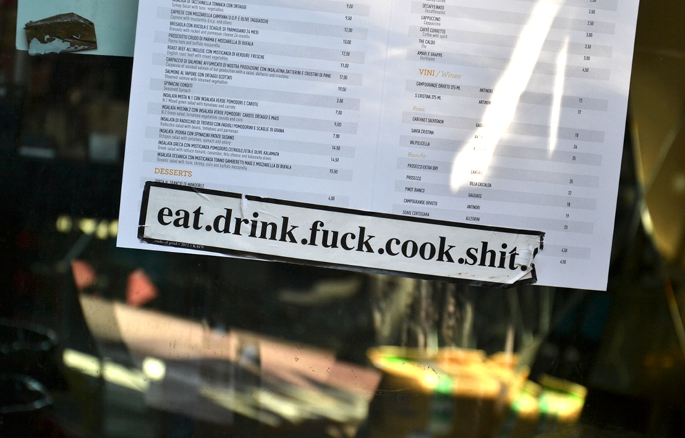 Biennale 2013, Eat drink fuck cook shit