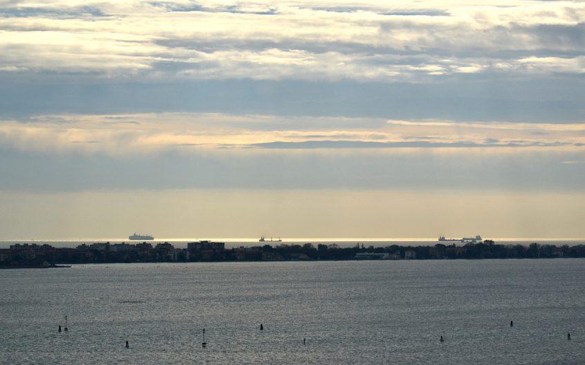 Venice, View from San Giorgio Maggiore to Lido in the evening