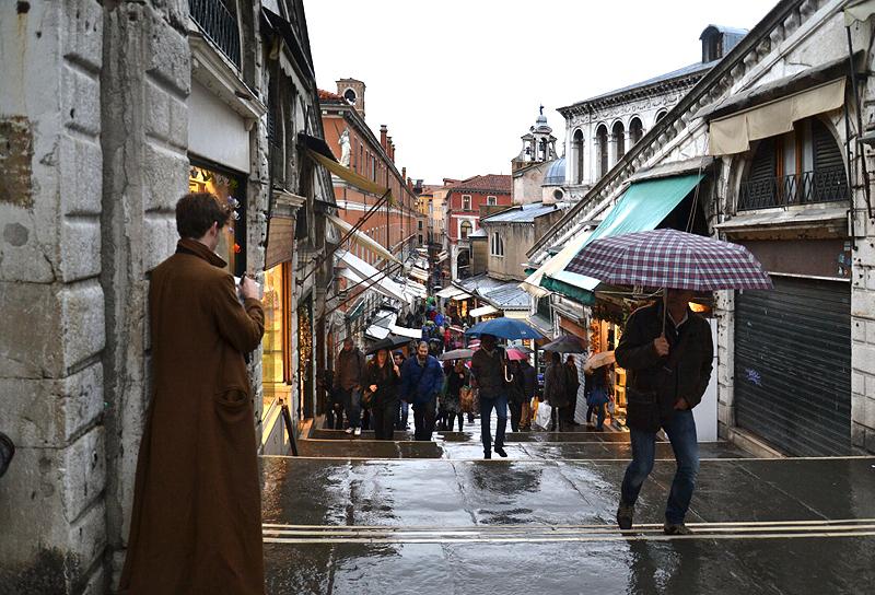 Venice, Rain, Ponte di Rialto