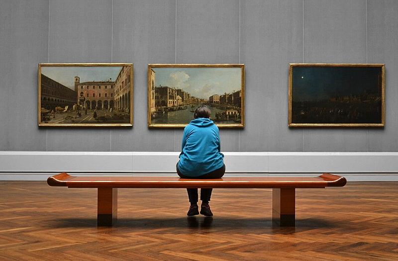 Canaletto, Canaletto, La Vigilia di sa. Pietro - Canal Grande - La Vigilia di S. Marta, Besucher in der Gemäldegalerie Berlin