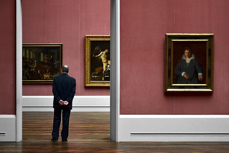 Gemäldegalerie, Cecco del Caravaggio, Die Austreibung der der Wechseler aus dem Tempel; Caravaggio, Amor als Sieger; Agostino Carraci, Anna Parolini Guicciardini