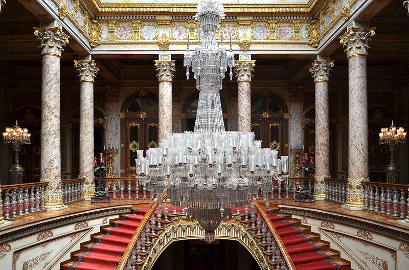 Istanbul, Dolmabahçe-Palast, Treppenhaus der Kristalltreppe