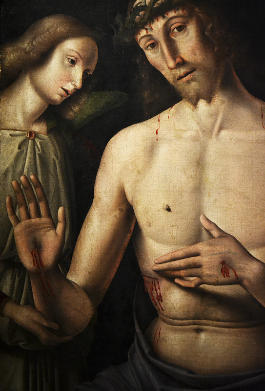 Giovanni santo, Man of Sorrows with two Angels