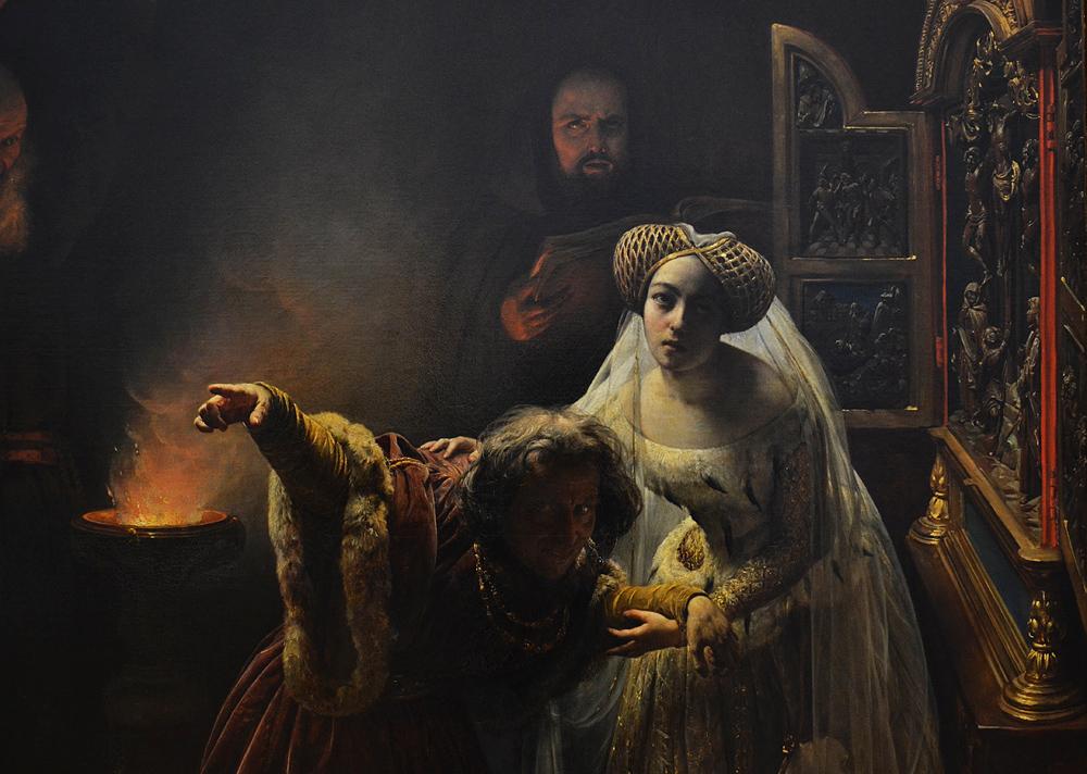Museum der bildenden Künste Leipzig, François-Auguste Biard, Der wahnsinnige König Karl IV. von Augustinermönchen dem Exorzismus unterzwungen