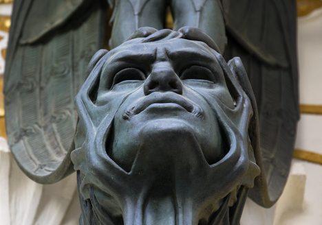Mathildenhöhe, Künstlerkolonie Darmstadt, Olbrich, Maske am Eingangsportal zum Ernst-Ludwig-Haus