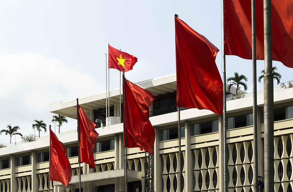 Saigon / Ho-Chi-Minh-Stadt, Unabhängigkeitspalast, Fahnen