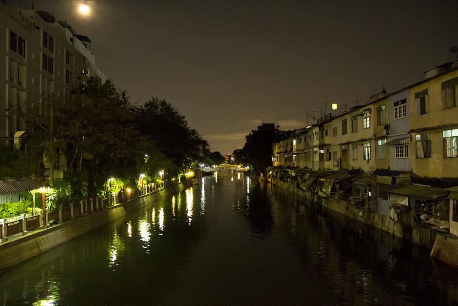 Bangkok, Klong Banglampoo, Nacht