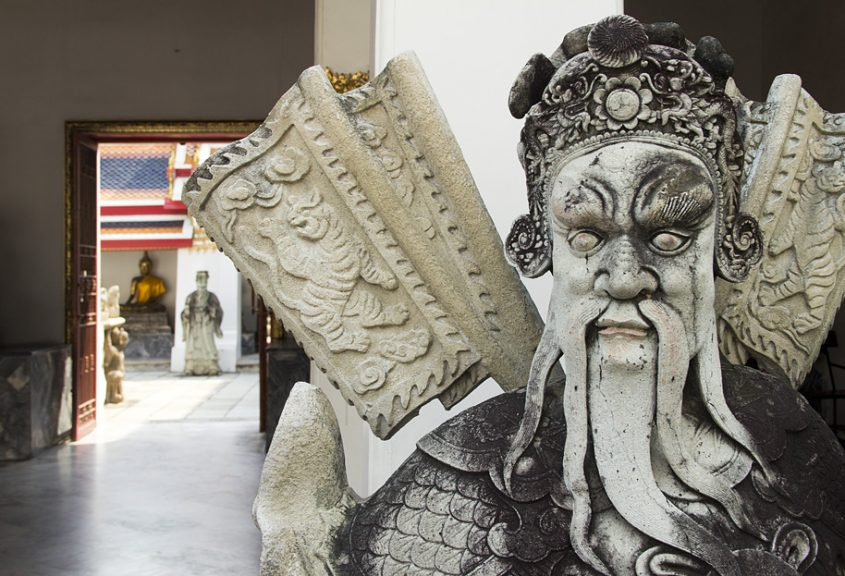 Bangkok, Wat Pho, Chinesische Wächterfigur