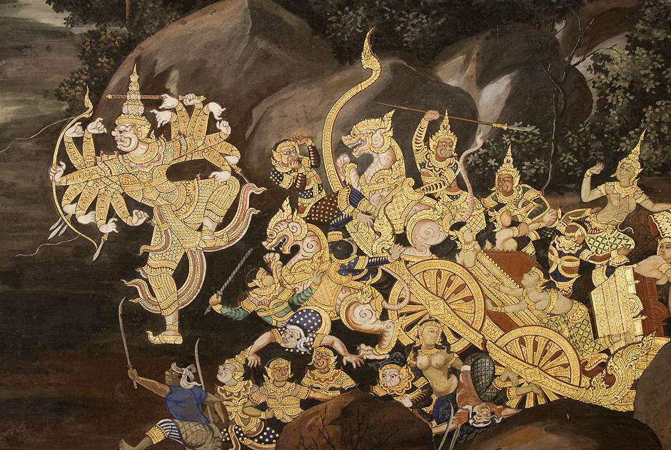Bangkok, Wat Phra Keo, Wat Phra Kaeo, Ramakien-Wandmalereien