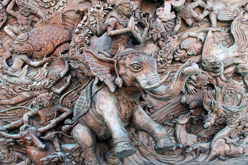 Bangkok, Chinatown, Samphanthawong, Tempel des Goldenen Buddhas, Relief mit Elefant