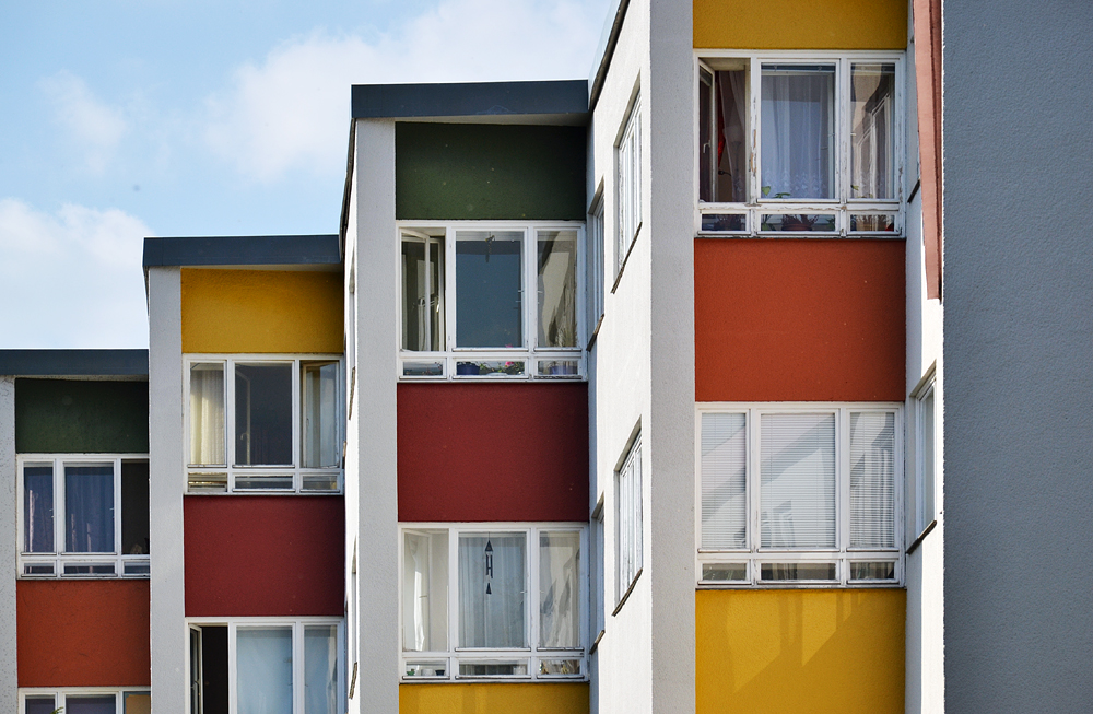 Großssiedling Siemensstadt, Ring-Siedlung, Ostabschluss von Hans Scharoun