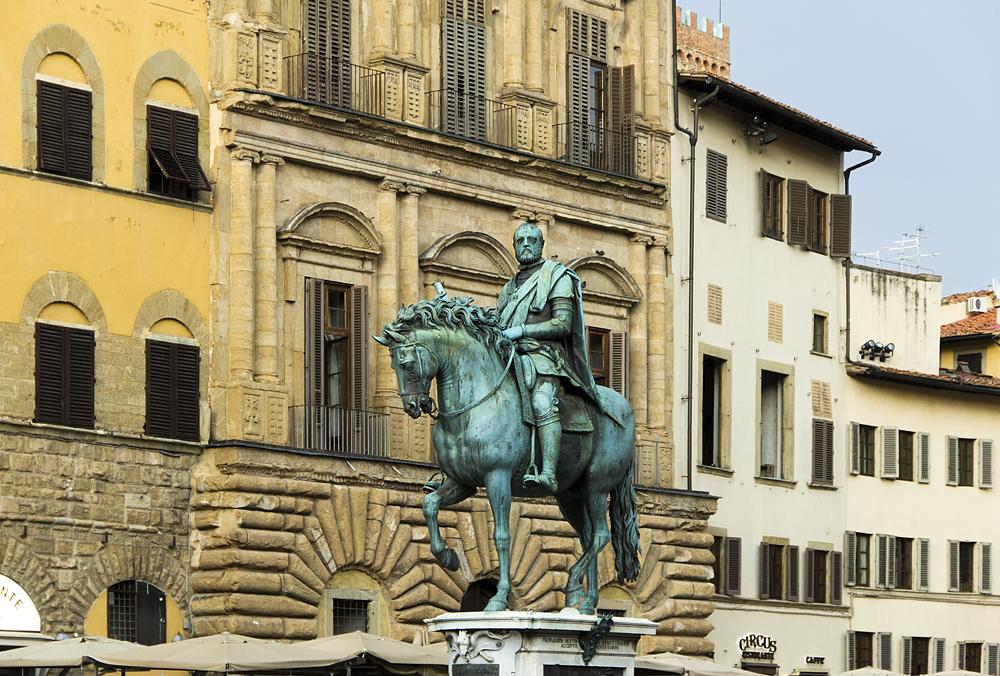 Piazza della Signoria, Giambologna, Reiterstandbild Cosimos I.